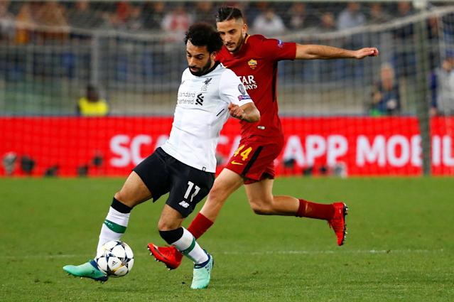 Soccer Football - Champions League Semi Final Second Leg - AS Roma v Liverpool - Stadio Olimpico, Rome, Italy - May 2, 2018 Liverpool's Mohamed Salah in action with Roma's Konstantinos Manolas REUTERS/Tony Gentile