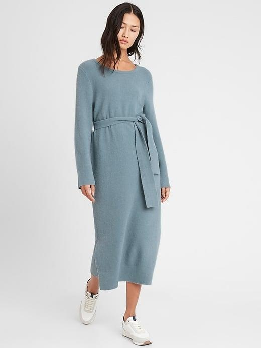 """<p>This comfy <span>Banana Republic Flare-Sleeve Sweater Dress</span> ($69, originally $139) is already an <a href=""""https://www.popsugar.com/fashion/best-winter-clothes-from-banana-republic-editor-review-47980103"""" class=""""link rapid-noclick-resp"""" rel=""""nofollow noopener"""" target=""""_blank"""" data-ylk=""""slk:editor favorite"""">editor favorite</a>.</p>"""