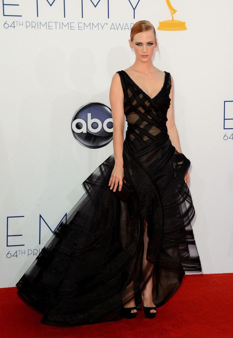 <p>The <em>Mad Men </em>actress brought a darker side to the red carpet in this Zac Posen gown. </p>
