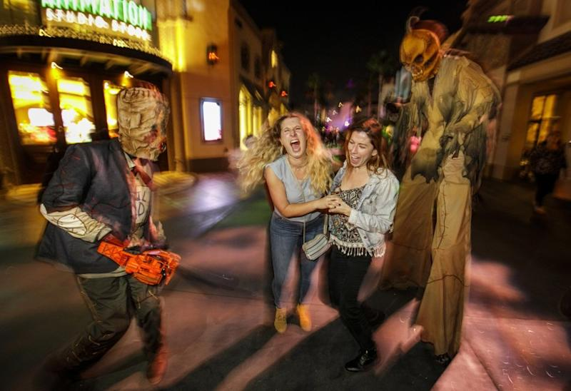 """""""Trick 'r Treat"""" scare zone at Universal Studios Hollywood's """"Halloween Horror Nights"""" 2018."""