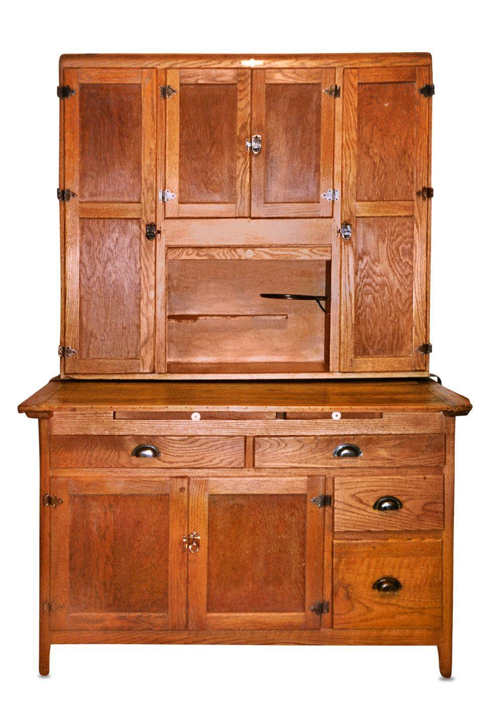 "<p><strong>What it was worth (2008): </strong>$1,000</p><p><strong>What it's worth now:</strong> $1,800</p><p><a href=""https://www.ebay.com/itm/Oak-Hoosier-Cabinet-with-flour-bin/183257071296"" rel=""nofollow noopener"" target=""_blank"" data-ylk=""slk:This gorgeous cabinetry"" class=""link rapid-noclick-resp"">This gorgeous cabinetry</a> would fit perfectly in a <a href=""https://www.countryliving.com/home-design/house-tours/g22854868/idaho-farmhouse-house-tour/"" rel=""nofollow noopener"" target=""_blank"" data-ylk=""slk:cute country cottage."" class=""link rapid-noclick-resp"">cute country cottage.</a></p>"