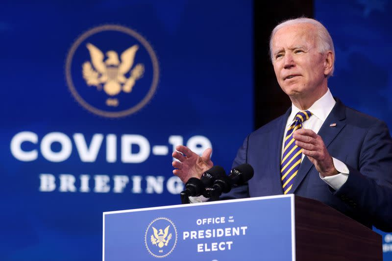 FILE PHOTO: FILE PHOTO: U.S. President-elect Joe Biden delivers remarks on the U.S. response to the coronavirus disease (COVID-19) outbreak, at his transition headquarters in Wilmington