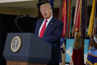 President Donald Trump speaks about the counternarcotics operations at U.S. Southern Command, Friday, July 10, 2020, in Doral, Fla. (AP Photo/Evan Vucci)