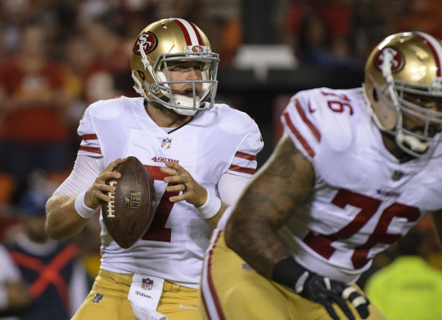 Matt Barkley, shown with the 49ers in the 2017 preseason, will start for the Bills on Sunday. (AP)