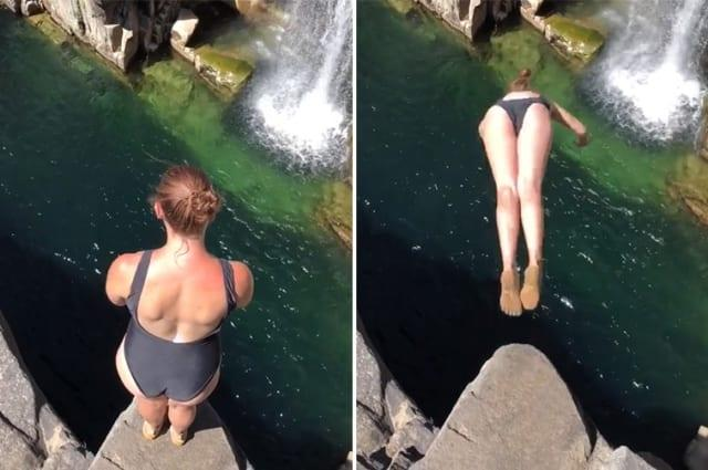 Girl performs mind-blowing dive into beautiful waterfall