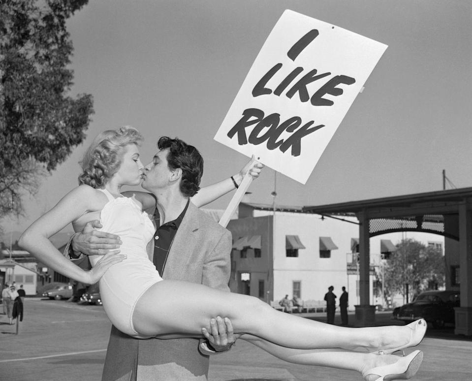"""<p>Hudson campaigned for mayor of Universal City, home of Universal-International film studios. The small town consisted of only 400 people, and had its own post office, fire department, and police force. Here, Hudson received kiss from his """"campaign manager,"""" Kathleen Hughes. </p>"""
