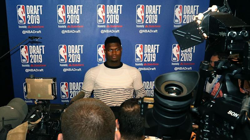 NEW YORK, NEW YORK - JUNE 19: Zion Williamson speaks to the media ahead of the 2019 NBA Draft at the Grand Hyatt New York on June 19, 2019 in New York City. NOTE TO USER: User expressly acknowledges and agrees that, by downloading and or using this photograph, User is consenting to the terms and conditions of the Getty Images License Agreement. (Photo by Mike Lawrie/Getty Images)
