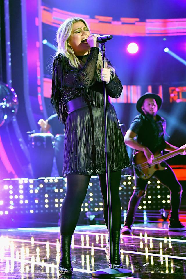 Kelly Clarkson performs at the 2018 CMT Music Awards at Bridgestone Arena in Nashville. (Photo by Jeff Kravitz/FilmMagic)