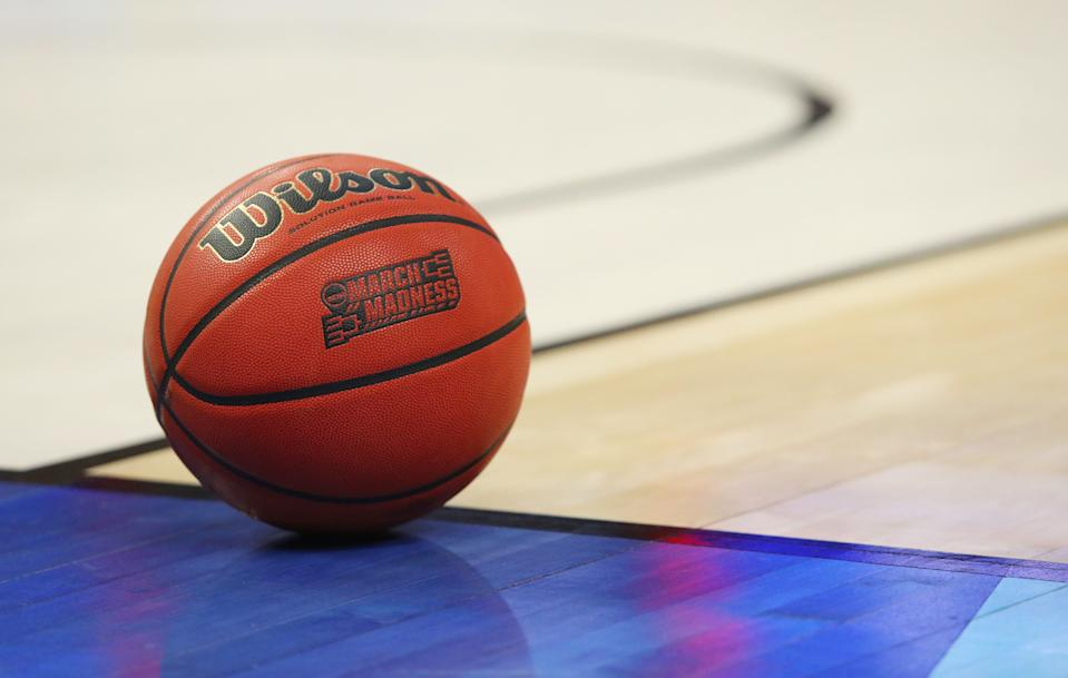 A closeup view of an official game ball with the March Madness logo during a second-round men's college basketball game between Villanova and Wisconsin in the NCAA Tournament, Saturday, March 18, 2017, in Buffalo, N.Y. (AP Photo/Bill Wippert)