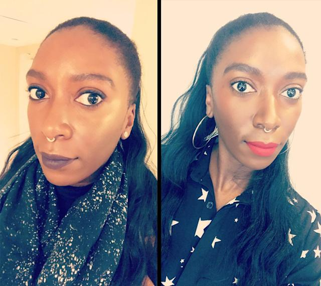 Testing Pat McGrath LiquiLUST007 in Nightshade and Revelation Red. (Photos: Dana Oliver for Yahoo Lifestyle)