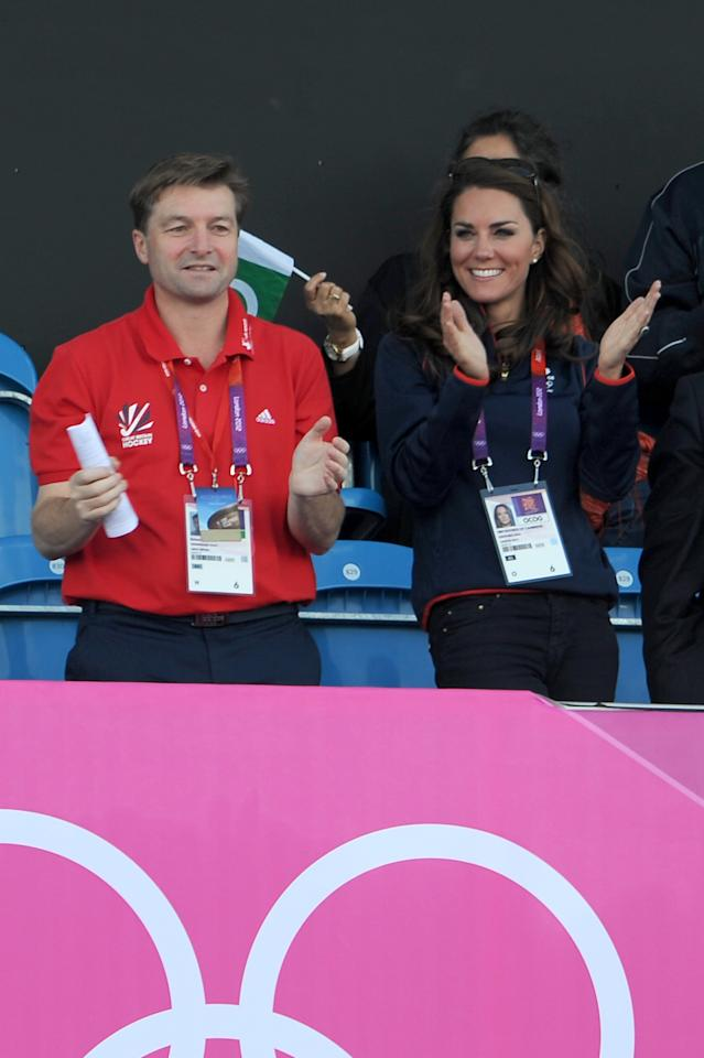 LONDON, ENGLAND - AUGUST 03:  Catherine, Duchess of Cambridge (R) attends the Hockey on Day 7 of the London 2012 Olympic Games at Riverbank Arena at Hockey Centre on August 3, 2012 in London, England.  (Photo by Pascal Le Segretain/Getty Images)