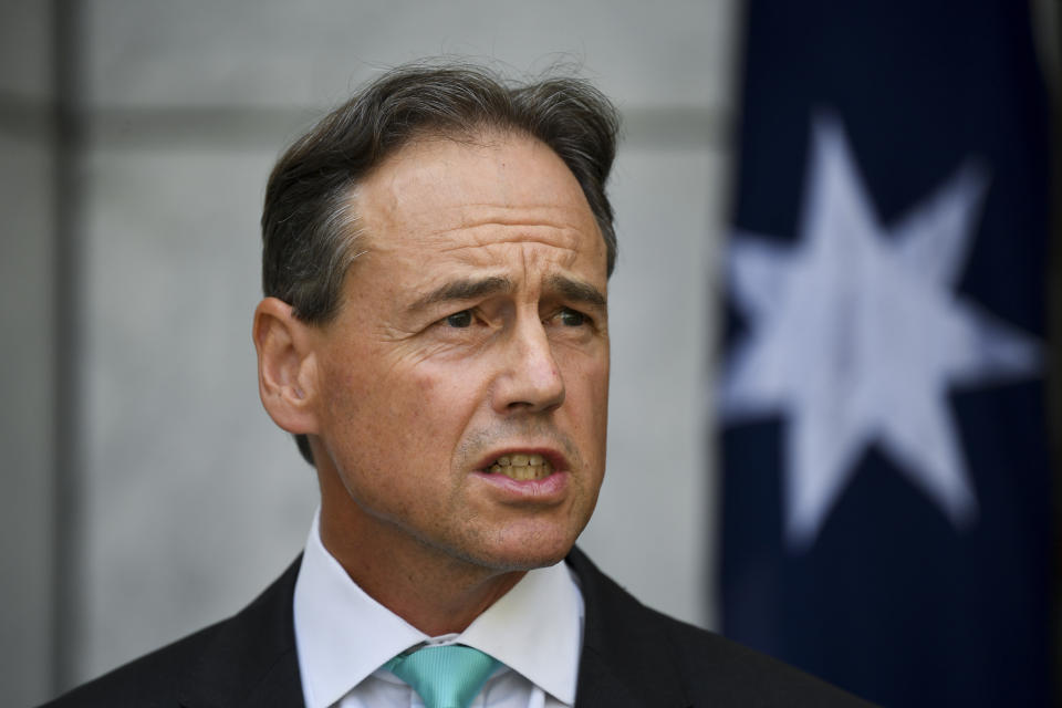 Australian Health Minister Greg Hunt speaks to the media during a press conference at Parliament House in Canberra, Tuesday, February 16, 2021. (AAP Image/Lukas Coch) NO ARCHIVING