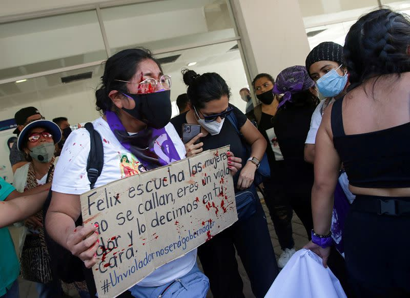 FILE PHOTO: Injured protester is seen near an event attended by Mexico's President Obrador and Argentina's President Fernandez in Iguala