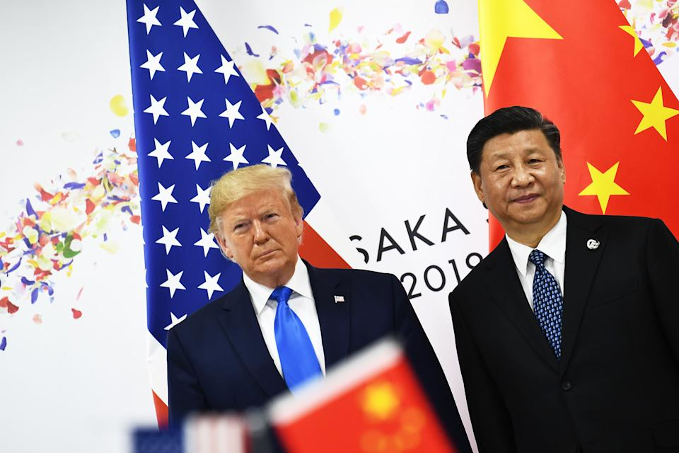 Chinese President Xi Jinping (R) and US President Donald Trump attend their bilateral meeting on the sidelines of the G20 Summit in Osaka on June 29, 2019. (Photo by Brendan Smialowski / AFP)        (Photo credit should read BRENDAN SMIALOWSKI/AFP/Getty Images)