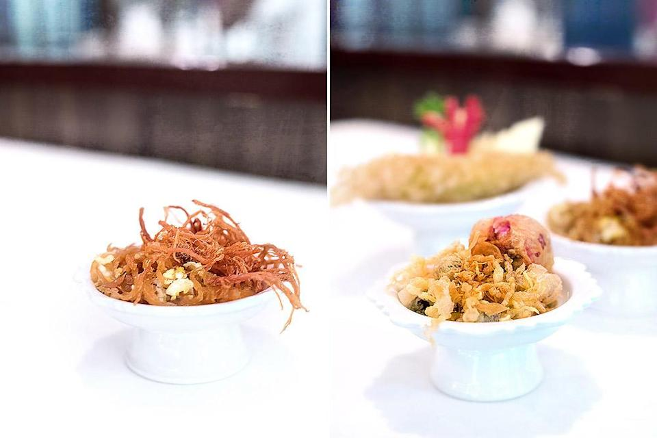 Shredded and sweetened beef floss ('nuea foi') is a common accompaniment though side dishes vary from restaurant to restaurant.