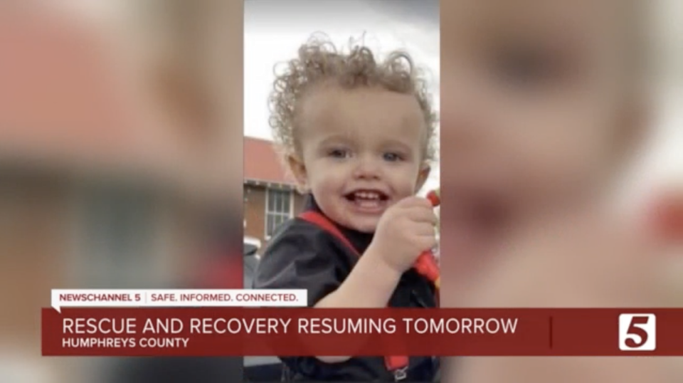 Two-year-old Kellen Cole Burrow is among the missing after the weekend's deadly floods in Tennessee (WTVF)