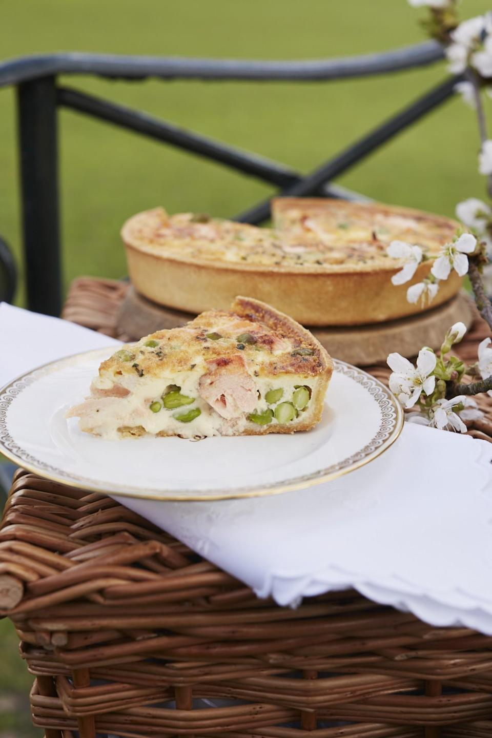 <p>Serves 4–6.<br><br><i>For the pastry:</i><br> 125g (1 cup) plain flour<br> a pinch of salt<br> 25g (1/8 cup) cold butter, diced<br> 25g (1/8 cup) lard<br> 2 tablespoons milk<br> (Or use 1 × 250g block of ready-made<br> shortcrust pastry)<br><br><i>For the filling:</i><br> 75ml (1/3 cup) milk<br> 75ml (1/3 cup) double cream<br> 2 medium free-range eggs<br> 1 tablespoon fresh tarragon, chopped<br> salt and pepper<br> 50g (½ cup) cheddar cheese, grated<br> 100g (¾ cup) poached salmon, flaked<br> 60g (1/3 cup) cooked and shelled<br> broad beans or soya beans<br><br><i>Equipment:</i> 20 cm/8″ flan tin<br><br>1. Preheat the oven to 190°C (375°F, gas mark 5).<br><br>2. To make the pastry, sieve the flour and salt into a bowl, add the fats<br> and rub the mixture through your fingertips until you get a sandy,<br> breadcrumb-like texture. Add the milk a little at a time and bring the<br> ingredients together into a dough. Cover and allow to rest in the fridge for<br> 30–45 minutes.<br><br>3. Lightly flour the work surface and roll out the pastry to make a circle a<br> little larger than the top of your flan tin and approximately 0.5 cm thick.<br> Line the tin with the pastry, taking care not to make any holes in it or the<br> filling will leak. Cover and rest for a further 30 minutes in the fridge.<br><br>4. Line the pastry case with baking paper, add baking beans and bake<br> blind for 15 minutes. Remove from the oven and take out the baking<br> paper and beans.<br><br>5. Reduce the oven temperature to 150°C/300°F/gas mark 2.<br><br>6. Beat together the milk, cream, eggs, herbs and seasoning. Scatter half of the grated cheese in the blind-baked pastry case, top with the flaked salmon and beans, and then pour over the milk-and-egg mix. If required, give the filling a gentle stir to ensure it is is evenly dispersed, but again be careful not to damage the pastry case. Sprinkle over the remaining cheese. Place into the oven and bake for 20–25 minutes until set and lightly go