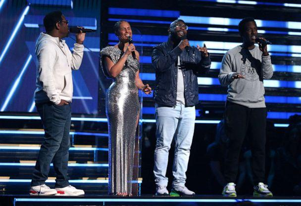 PHOTO: Nathan Morris, Wanya Morris and Shawn Stockman of Boyz II Men sing a tribute with Alicia Keys in honor of the late Kobe Bryant at the 62nd annual Grammy Awards on Sunday, Jan. 26, 2020, in Los Angeles. (Matt Sayles/Invision/AP)
