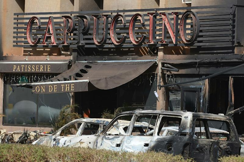 """Lucien Trabi said that as he was being taken past the Cappuccino bar to have his wound treated """"I saw four corpses, two of them white women, it wasn't pretty"""" (AFP Photo/Issouf Sanogo)"""