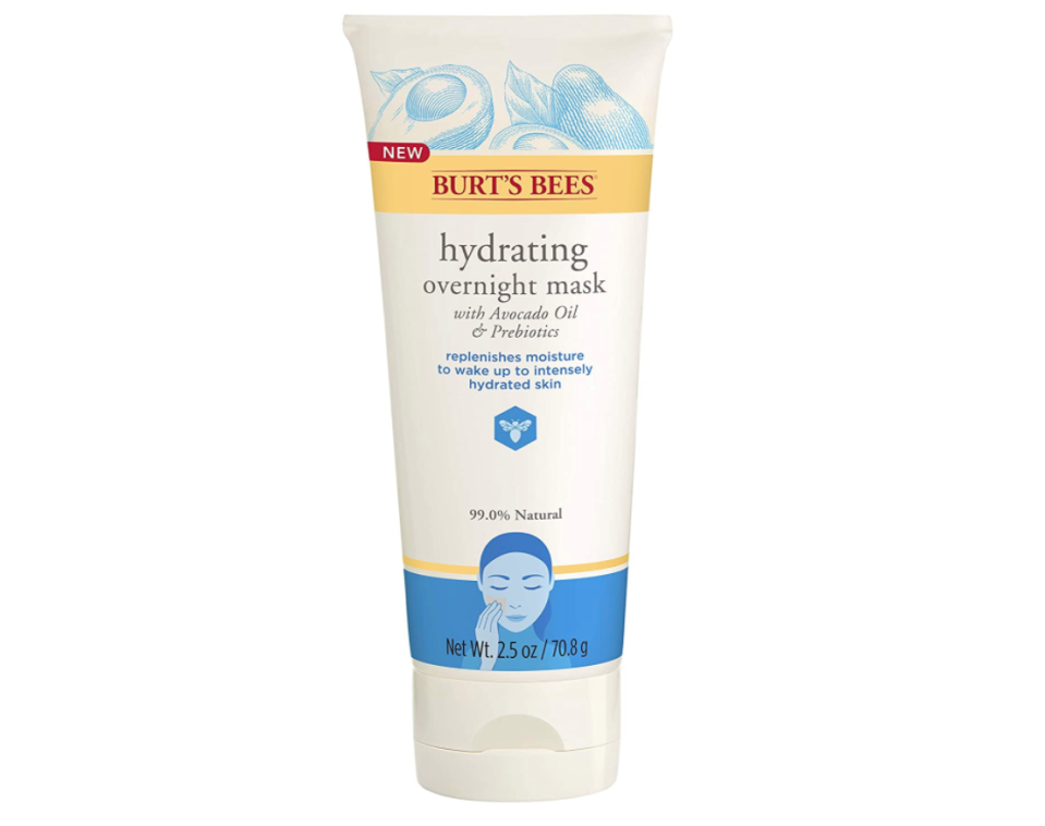"<p><strong>Burt's Bees</strong></p><p>amazon.com</p><p><strong>$12.74</strong></p><p><a href=""https://www.amazon.com/dp/B07JJVJVYK?tag=syn-yahoo-20&ascsubtag=%5Bartid%7C10058.g.26596733%5Bsrc%7Cyahoo-us"" rel=""nofollow noopener"" target=""_blank"" data-ylk=""slk:SHOP IT"" class=""link rapid-noclick-resp"">SHOP IT </a></p><p>This overnight mask is like a refreshing glass of water for your skin. This ultra-hydrating, cream-based product is formulated with avocado oil and nourishing fatty acids. It does all of the heavy-duty work while you get your beauty sleep on. In the a.m., you'll awake to soft and supple skin. </p>"