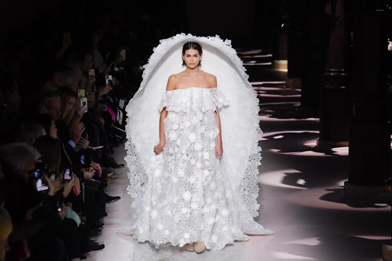 PARIS, FRANCE - JANUARY 21: Model Kaia Gerber walks the runway during the Givenchy Haute Couture Spring/Summer 2020 show as part of Paris Fashion Week on January 21, 2020 in Paris, France. (Photo by Stephane Cardinale - Corbis/Corbis via Getty Images)