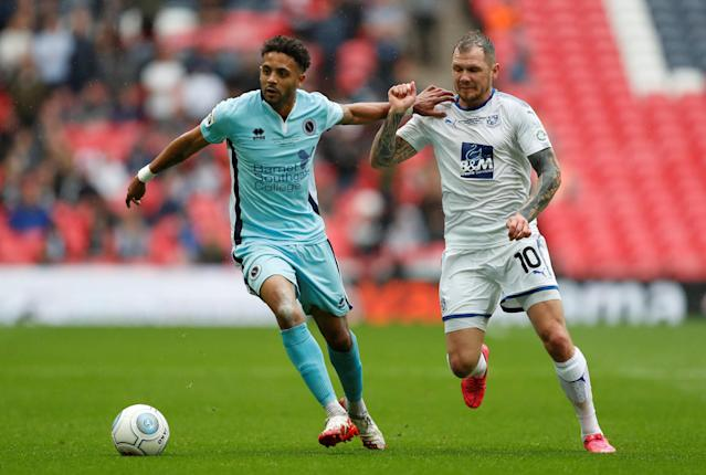 Soccer Football - National League Promotion Final - Tranmere Rovers v Boreham Wood - Wembley Stadium, London, Britain - May 12, 2018 Tranmere Rovers' James Norwood in action with Boreham Woods' Bruno Andrade Action Images/Matthew Childs