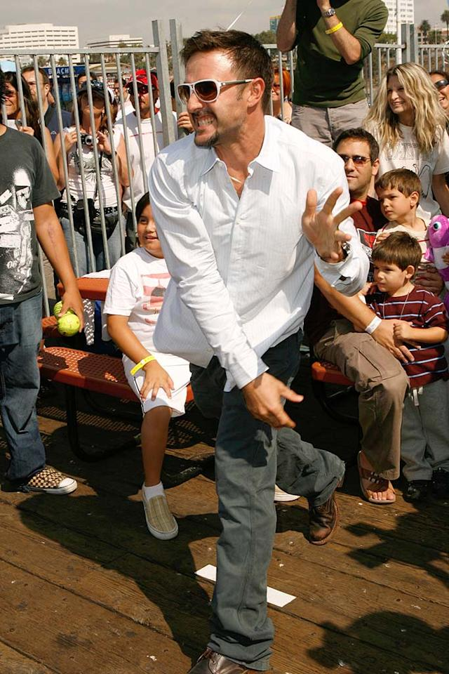 "David Arquette winds up at the dunk tank. Jeff Vespa/<a href=""http://www.wireimage.com"" target=""new"">WireImage.com</a> - September 29, 2007"