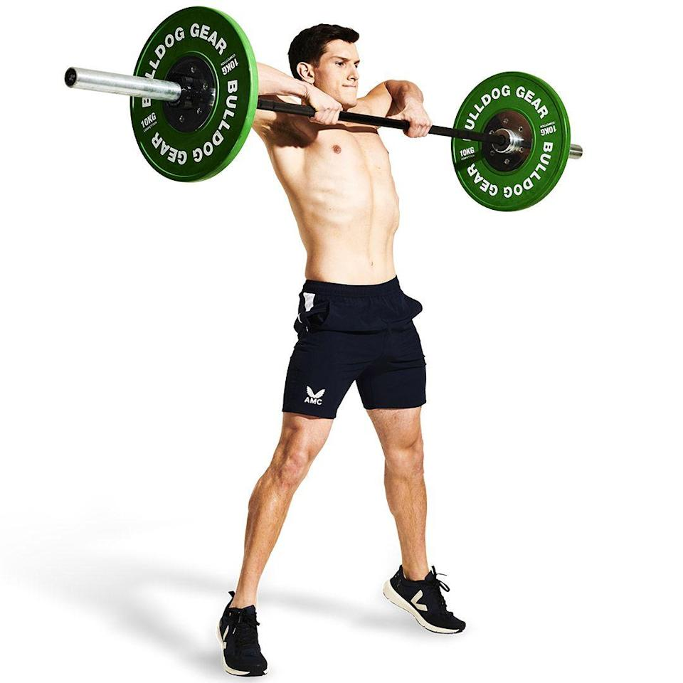 <p>Once the bar passes your hips, maintain the upward momentum by pulling the bar with your arms. Let your elbows come out wide. Ensure that your core is braced throughout, and avoid leaning back as you come up.</p>
