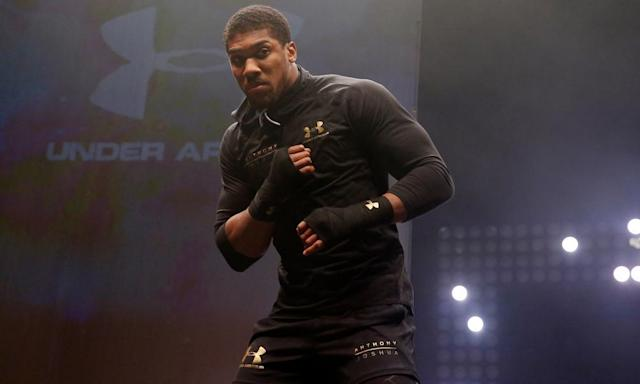 """<span class=""""element-image__caption"""">Anthony Joshua weighs a career-high 17st 12lbs for his fight against Wladimir Klitschko, who goes into their contest 10lbs lighter.</span> <span class=""""element-image__credit"""">Photograph: Andrew Couldridge/Reuters</span>"""