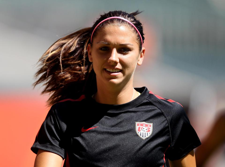 MOENCHENGLADBACH, GERMANY - JULY 12: Alex Morgan of the USA during a USA training session at Borussia-Park on July 12, 2011 in Moenchengladbach, Germany. (Photo by Scott Heavey/Getty Images)