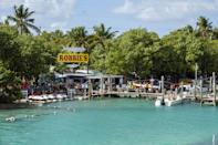 """<p>Don't miss these food finds along the Overseas Highway—the southernmost leg of U.S. Route 1—one of the most scenic drives in the country. </p> <p>At <a href=""""https://www.pilothousemarina.com/"""" rel=""""nofollow noopener"""" target=""""_blank"""" data-ylk=""""slk:Pilot House"""" class=""""link rapid-noclick-resp"""">Pilot House</a>, a local hangout in Key Largo, guests can enjoy jerk fish tacos while watching fish swim at the glass bottom bar.</p> <p><a href=""""https://www.robbies.com/"""" rel=""""nofollow noopener"""" target=""""_blank"""" data-ylk=""""slk:Robbie's of Islamorada"""" class=""""link rapid-noclick-resp"""">Robbie's of Islamorada</a>, a Florida Keys rite of passage where tourists flock to feed tarpon off the dock, boasts the Hungry Tarpon restaurant where you can get a massive (and delicious!) breakfast burrito for less than $10. </p> <p>At <a href=""""http://burdineswaterfront.com/"""" rel=""""nofollow noopener"""" target=""""_blank"""" data-ylk=""""slk:Burdines Waterfront"""" class=""""link rapid-noclick-resp"""">Burdines Waterfront</a> in Marathon, chilled key lime wrapped in a flour tortilla, then deep-fried and dusted in cinnamon sugar is the star of the show. </p> <p>Finally, make sure to stop on Stock Island at <a href=""""http://www.roostica.com/"""" rel=""""nofollow noopener"""" target=""""_blank"""" data-ylk=""""slk:Roostica"""" class=""""link rapid-noclick-resp"""">Roostica</a> for the best pizza in the Keys. If you like heat, try the Hell's Kitchen Diavola pie with spicy salami and lots of garlic.</p>"""