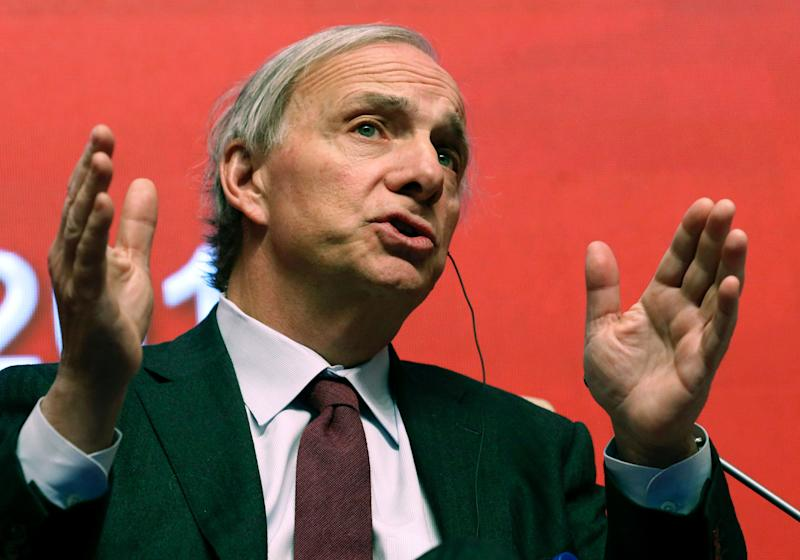 FILE - In this March 23, 2019 file photo, Bridgewater Associates Chairman Ray Dalio speaks during the Economic Summit held for the China Development Forum in Beijing, China. On Friday, April 5, Connecticut Gov. Ned Lamont announced that Dalio and his wife Barbara, of Greenwich, Conn., are donating $100 million to support public education and new businesses in some of Connecticut's most disadvantaged communities. (AP Photo/Ng Han Guan, File)