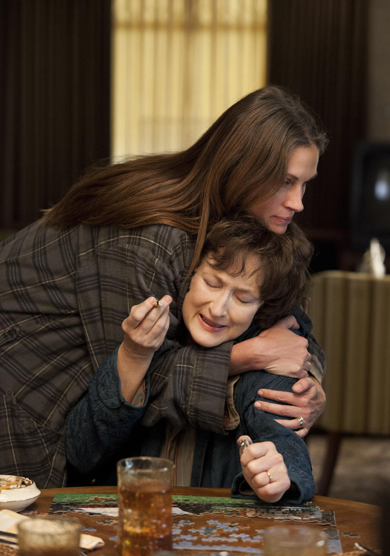 "This publicity image released by The Weinstein Company shows, from left, Julia Roberts and Meryl Streep in a scene from ""August: Osage County."" The film is nominated for a Writers Guild Award for adapted screenplay announced on Friday, Jan. 3, 2013. The Writers Guild Award winners will be honored on Feb. 1, 2014, simultaneous in Los Angeles and New York. (AP Photo/The Weinstein Company, Claire Folger)"