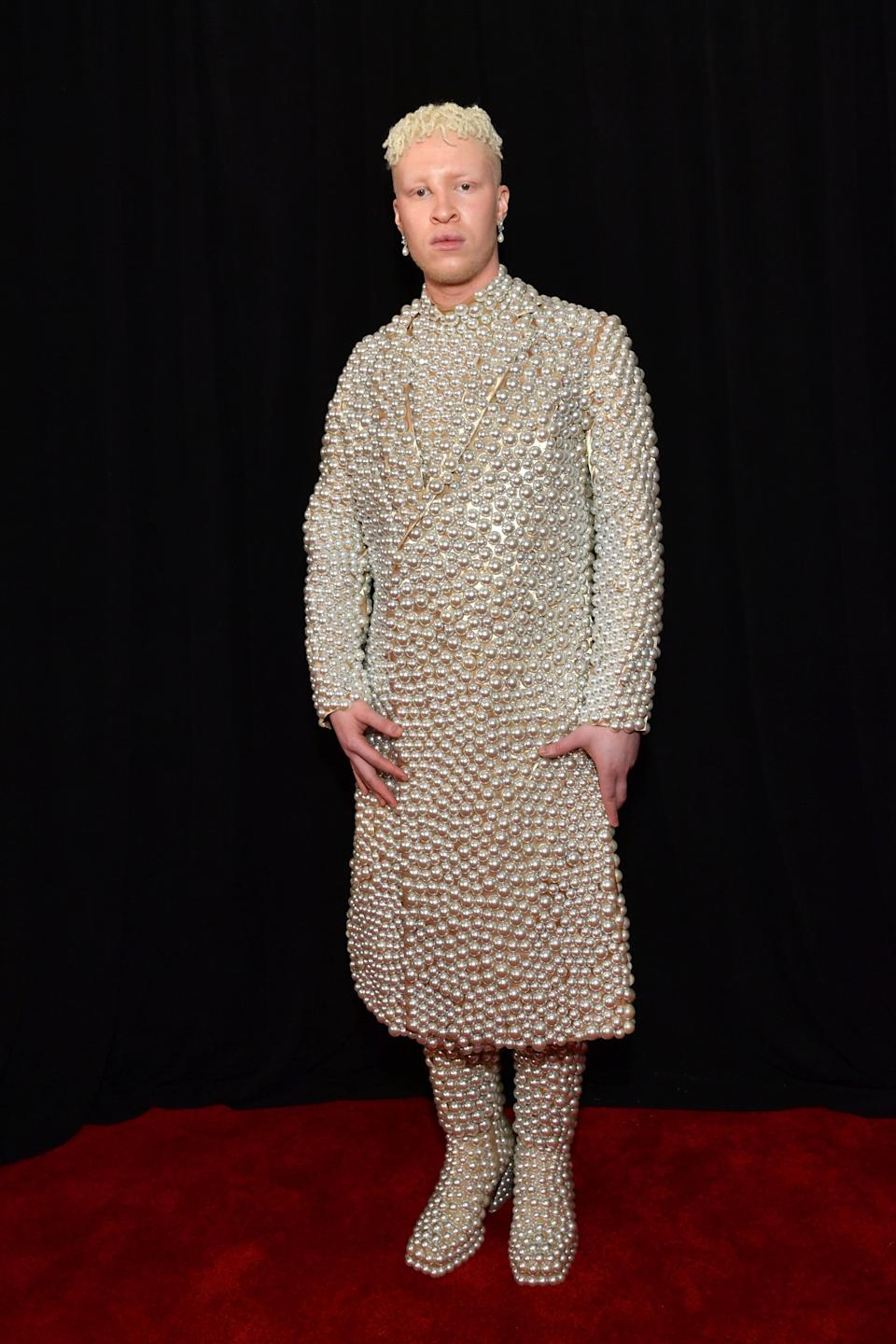 The singer and model wore an outfit covered head-to-toe in pearls, surely one of the night's most opulent looks.