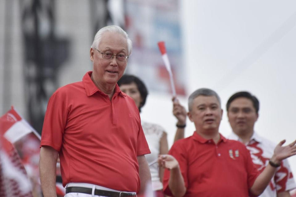Emeritus Senior Minister Goh Chok Tong at the National Day Parade on 9 August 2018. PHOTO: Stefanus Ian/Yahoo News Singapore