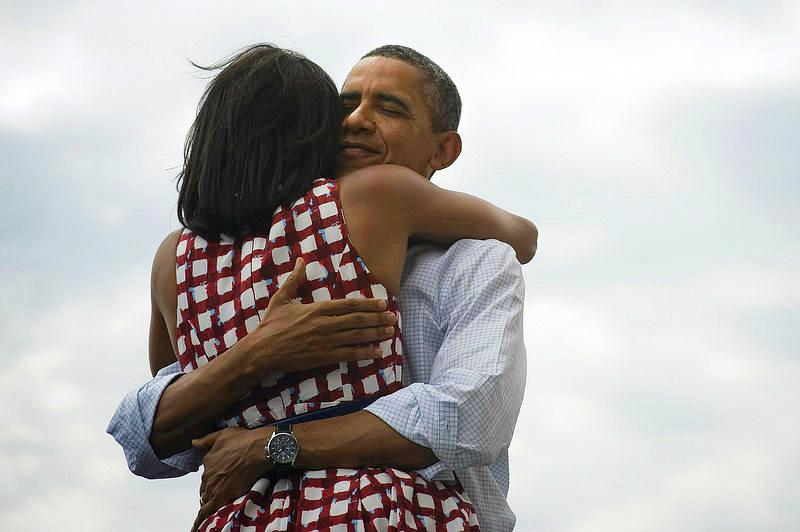 "As networks began calling the race for President Obama on election night, his campaign tweeted this photo with the caption ""four more years."" The image became the most retweeted ever and ""most liked"" on Facebook. (@BarackObama/Twitter)"