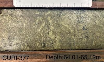 (ADZN-tsxv) (ADVZF-otcqx) Drill Hole CURI-377 - highlighted by 13.43% copper, 1.34 g/t gold, 6.20% zinc, 17.5 g/t silver, and 0.01% lead for 16.08% CuEq (CNW Group/Adventus Mining Corporation)