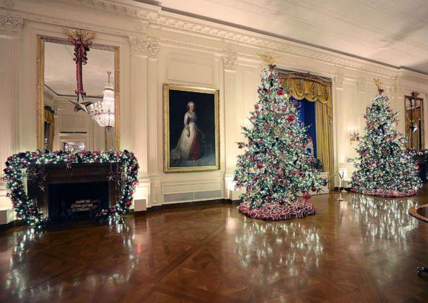 PHOTO: Christmas decorations are on display in the East Room at the White House, Dec. 2, 2019, in Washington, D.C. (Mark Wilson/Getty Images)