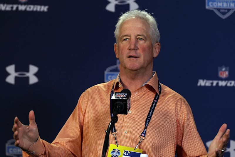 Denver Broncos head coach John Fox answers a question during a news conference at the NFL football scouting combine in Indianapolis, Thursday, Feb. 20, 2014. (AP Photo/Michael Conroy)