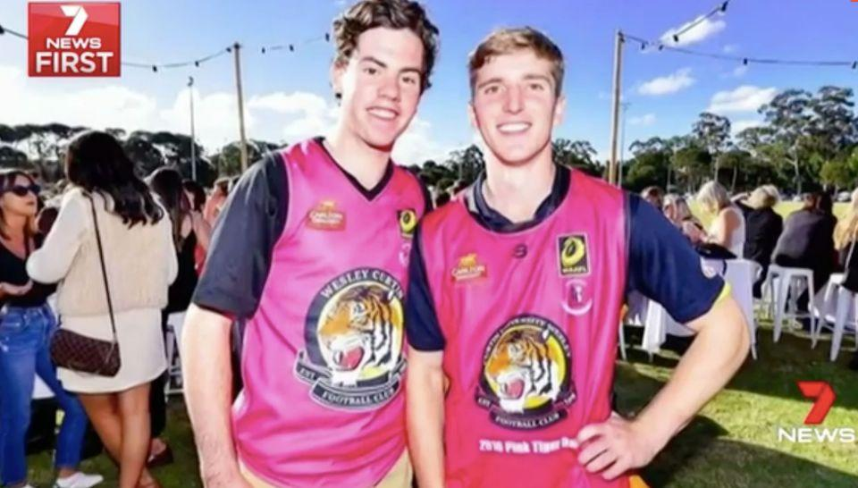 Ben Napier, right, with friend Michael Searle. Source: 7 News