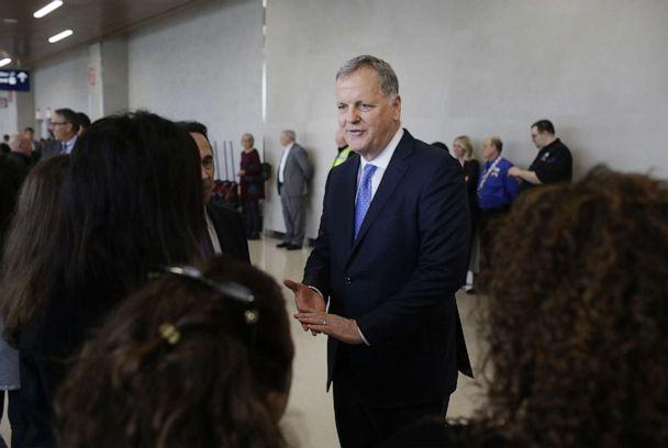 PHOTO: Doug Parker, chairman and chief executive officer of American Airlines Group Inc., speaks with employees in Chicago, Illinois, on Friday, May 11, 2018. (Joshua Lott/Bloomberg via Getty Images)