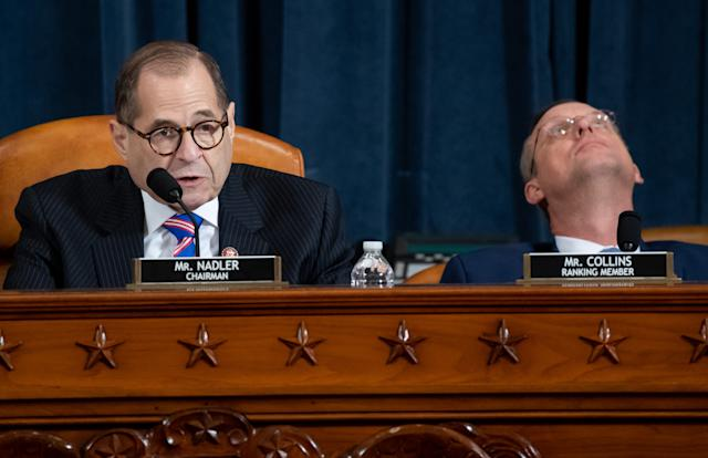 House Judiciary Chair Jerry Nadler, left, ranking member Rep. Doug Collins, R-Ga., during a committee hearing. (Photo: Saul Loeb/AFP via Getty Images)