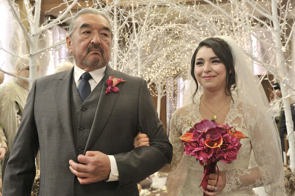 "Graham Greene as Rafe McCawley and Nicole Munoz as Christie McCawley in the ""Defiance"" epsiode, ""The Bride Wore Black."""