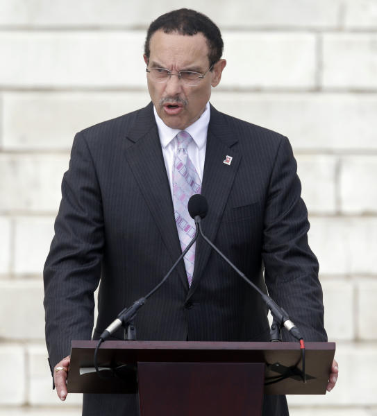 FILE - In this Wednsday, Aug. 28, 2013 file photo, Washington Mayor Vincent Gray speaks at the Let Freedom Ring ceremony at the Lincoln Memorial in Washington to commemorate the 50th anniversary of the 1963 March on Washington for Jobs and Freedom. With less than seven months before the Democratic primary for mayor, which has traditionally decided the race, Gray is being coy about his intentions - and the contest is mired in uncertainty. (AP Photo/Carolyn Kaster, File)
