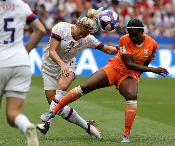 PHOTO: United States' Abby Dahlkemper, left, challenges Netherlands' Lineth Beerensteyn, right, during the Women's World Cup final soccer match between US and The Netherlands at the Stade de Lyon in Decines, France, July 7, 2019. (Alessandra Tarantino/AP)
