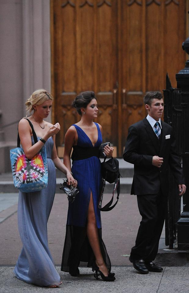 NEW YORK, NY - JUNE 30:  Alec Baldwin's daughter Ireland Baldwin (L) attends her father and Hilaria Thomas' wedding ceremony at St. Patrick's Old Cathedral on June 30, 2012 in New York City.  (Photo by Michael Loccisano/Getty Images)