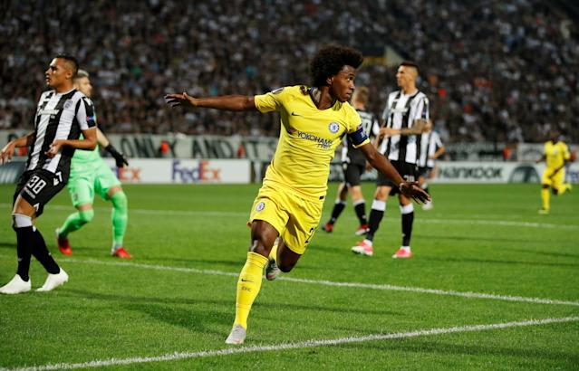 Willian celebrates scoring their first goal (Pic: Reuters/John Sibley)