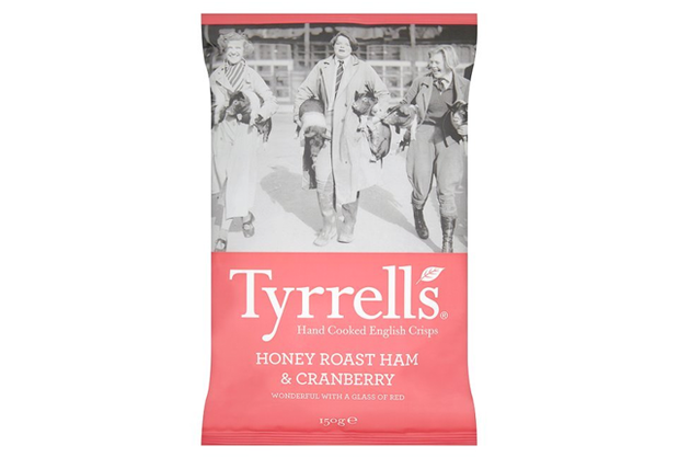 """<p>This premium chip maker from the U.K. is <a href=""""https://www.telegraph.co.uk/finance/newsbysector/retailandconsumer/10067279/Tyrrells-crisps-for-sale-for-100m.html"""" rel=""""nofollow noopener"""" target=""""_blank"""" data-ylk=""""slk:no stranger"""" class=""""link rapid-noclick-resp"""">no stranger</a> to unique flavors, but honey roast ham and cranberry is a mouthful for multiple reasons. Each bite is a feast of flavor!</p>"""