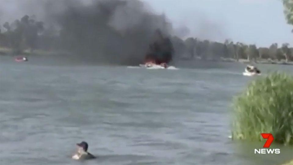 Three people were burnt in the blast, but despite their injuries they managed to jump overboard to save themselves. Source: 7 News
