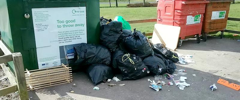 Glenrothes. Rubbish dumped across Fife by people after lockdown. April 1 2020. Fly-tipping has surged by up to 300 per cent as recycling sites have closed due to the coronavirus, officials have revealed. See SWNS story SWMDflytip. Pictures show piles of waste dumped following the closure of waste centres. Officials say many people are taking rubbish to recycling centres and when they find it closed dumping it outside - which is fly-tipping. One council says the amount of waste dumped in that way has gone up ''three fold''.
